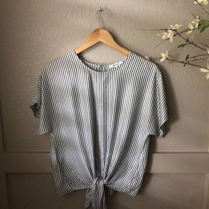 Madewell tie front strip blouse
